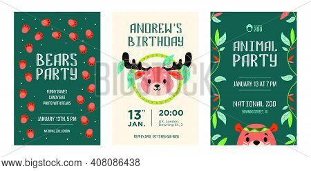 Invitation Cards Set With Wild Animals. Friendly Cartoon Reindeer, Bear With Decoration In Boho Styl