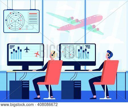 Operators Controlling Aircraft Flat Vector Illustration. Cartoon Characters Sitting In Airport Comma