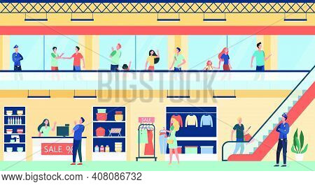 People Shopping In City Mall Flat Vector Illustration. Cartoon Buyers Walking Inside Commercial Buil