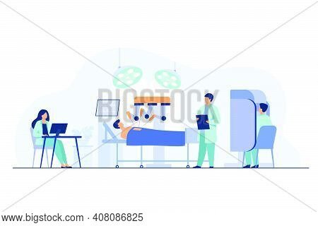 Robot Operating On Patient. Surgeons Monitoring Robotic Arms Work In Operating Room. Vector Illustra