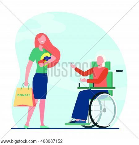 Volunteer Bringing Food To Disabled Woman. Donation, Wheelchair, Handicapped Person Flat Vector Illu