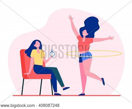 Woman Helping Female Friend With Hula Hoop To Train Body. Stopwatch, Timer, Trainer Flat Vector Illu