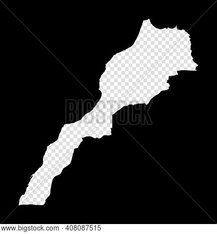 Stencil Map Of Morocco. Simple And Minimal Transparent Map Of Morocco. Black Rectangle With Cut Shap