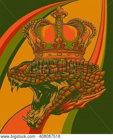 Snake Crown Colored Background Design Vector Illustration