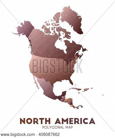North-america Map. Actual Low Poly Style Continent Map. Precious Vector Illustration.
