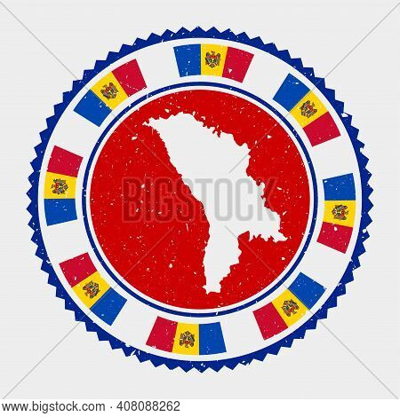 Moldova Grunge Stamp. Round Logo With Map And Flag Of Moldova. Country Stamp. Vector Illustration.