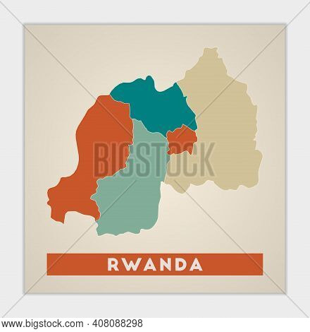 Rwanda Poster. Map Of The Country With Colorful Regions. Shape Of Rwanda With Country Name. Beautifu