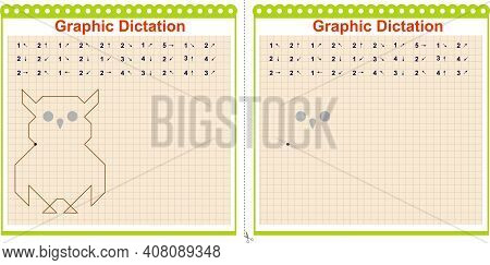 Draw A Picture On The Arrows. Cartoon Graphic Wise Owl. Worksheet For Children. Vector Illustration