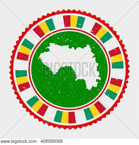 Guinea Grunge Stamp. Round Logo With Map And Flag Of Guinea. Country Stamp. Vector Illustration.