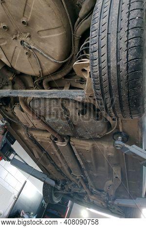 Car And Car Service, Car Diagnostics And Repair, Car On The Lift.