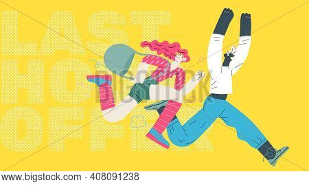 Discounts, Sale, Promotion - Modern Flat Vector Concept Illustration Of A Woman And A Man Running In