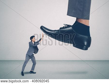 Foot Of Leader Or Boss With Authority Huge Trample On Frightened Employee With Bullying, Businessman