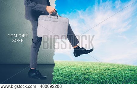 Businessman Walking Outside Comfort Zone For Success, Man Decision For Succeed Cross Path With Confi