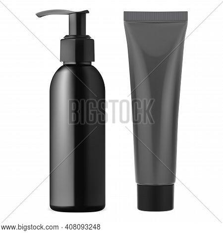 Black Pump Dispenser Bottle. Plastic Cream Tube. Beauty Lotion Container, Face Skin Care Gel. Makeup