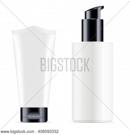 White Cosmetic Cream Tube, Pump Bottle Vector Blank. Realistic Glossy Cosmetic Packaging 3d Mockup,