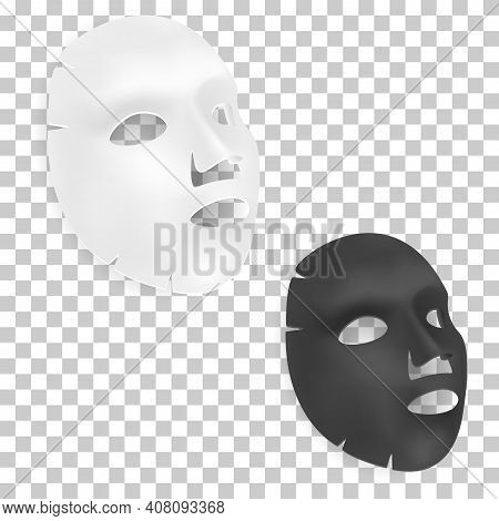 Face Mask Sheet. Beauty Cosmetic Facial Mask, Black, White Spa Product Illustration. Cotton Collagen