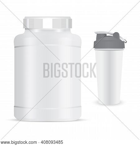 Protein Bottle Mockup. Sport Shaker Nutrition Powder Flask. Whey Protein Product Canister. Nutrition