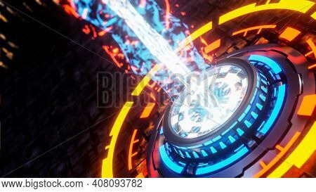 Power Button Emits Particle Beam On Black Background. Sci-fi Idea Concept. 3d Model And Illustration