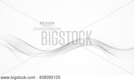Abstract Gray Color Wave Design Element. Grey Wave. Gray Smoke Wave. Transparent Gray Wave Element
