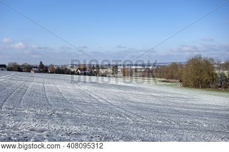 Idyllic Winter Scenery In Hohenlohe, A District In Southern Germany