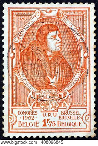 Belgium - Circa 1952: A Stamp Printed In Belgium Shows Jean-baptiste Of Thurn & Taxis, Portrait, Cir