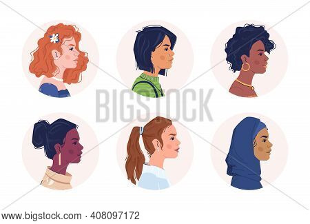 Profile Portraits Of Multiracial Women. Multicultural And Multiethnic People. Caucasian, Afro Americ