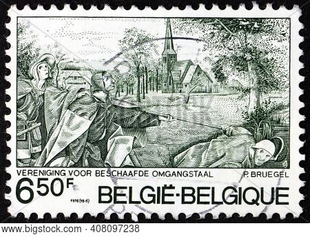 Belgium - Circa 1976: A Stamp Printed In Belgium Shows Blind Leading The Blind, Painting By Pieter B
