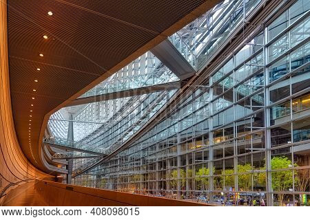 Tokyo, Japan - April 20, 2014: View Of Tokyo International Forum Interior. The Tokyo International F