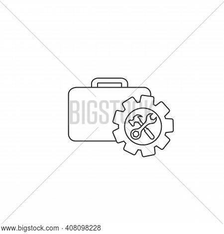 Toolbox With Instruments Inside Line Icon. Workmans Toolkit. Workbox In Icon Style. Vector