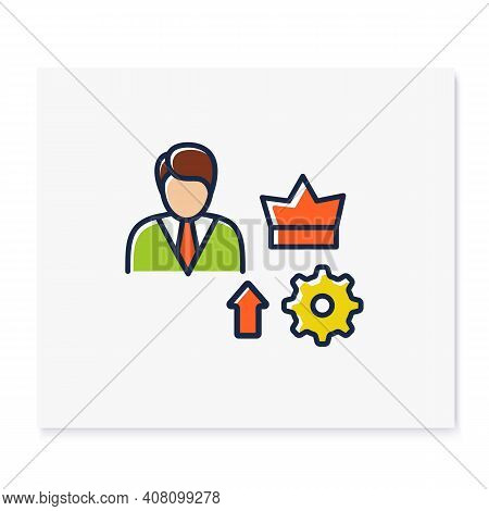 Self Esteem Building Color Icon. Personal Assessment. Personal Growth Concept. Self Improvement And