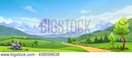 Mountain Landscape With Green Hills, Sandy Road And Natural Valley. Vector Picturesque Place Backgro
