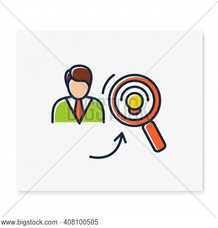 Identifying Potential Color Icon. Personal Growth Concept. Self Improvement And Talent Acquisition.p
