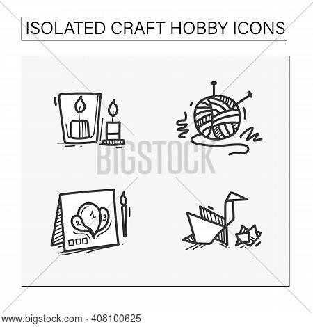 Craft Hobby Set Hand Drawn Icons. Handmade And Homemade Concept. Consist Of Origami, Knitting, Handm
