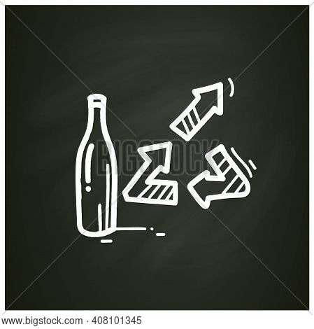 Upcycling Chalk Icon. Products Get Modified And Get Second Life Turned Into A New Product. Bottle Up