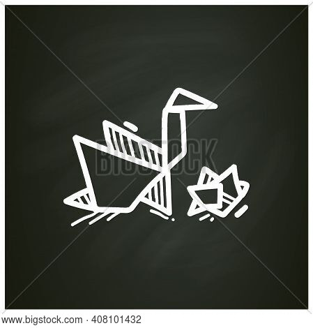 Origami Chalk Icon. Handmade Paper Japanese Bird. Aesthetic Art Of Paper Folding. Homemade Concept.