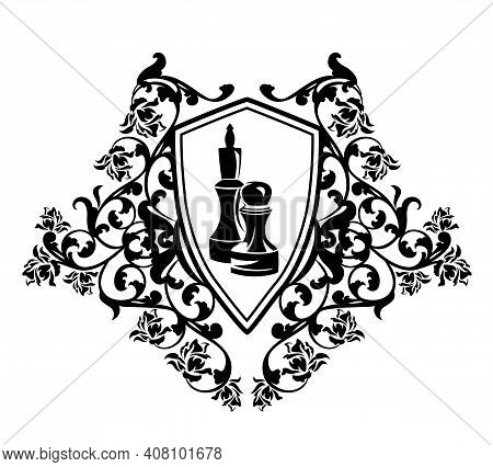 Chess Pawn And King Pieces Inside Heraldic Shield With Rose Flowers Decor - Sport Game Monochrome Ve