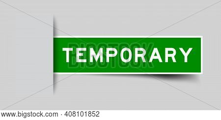 Label Sticker Green Color In Word Temporary That Inserted In Gray Background