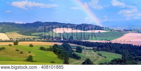 Rainbow Above The Liptov Panorama With Low Tatras (nizke Tatry) And Liptovkska Mara Water Lake Reser