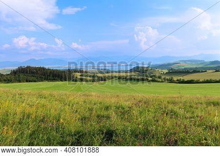Liptov Panorama With Low Tatras (nizke Tatry) And Liptovkska Mara Water Lake Reservoir In The Backgr