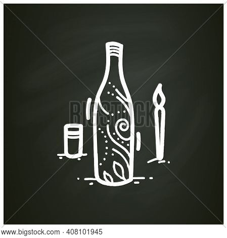 Bottle Painting Chalk Icon. Aesthetic Hobby Using Paint And Brush. Ornamental Painting On Glass. Han