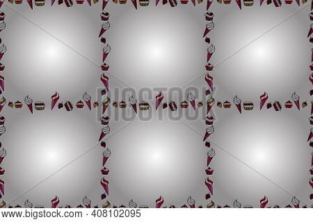 Raster. Picture In Red, White And Black Colors. Seamless. Quadratic Frames Doodles.