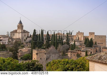 View Of The Alhambra Palaces Above Granada In Andalusia