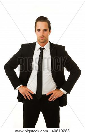 Business Man Serious With Hands On Hips
