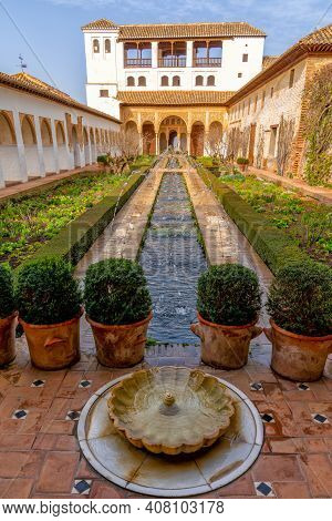 The Generalife Palace With The Patio De La Acequia In The Alhambra In Granada