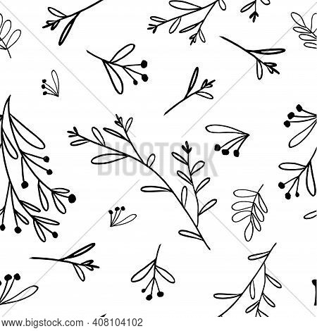 Foliage, Fruits Vector Line Art Seamless Pattern. Modern Illustration For Fabric Design. Vector Art