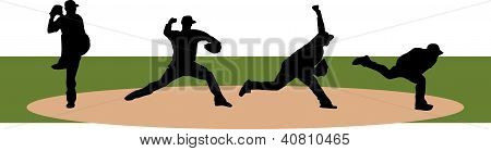 Baseball silhouette of pitchers