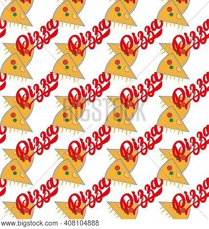 Pizza Seamless Vector Repeating Pattern With Text And Pizza Slices
