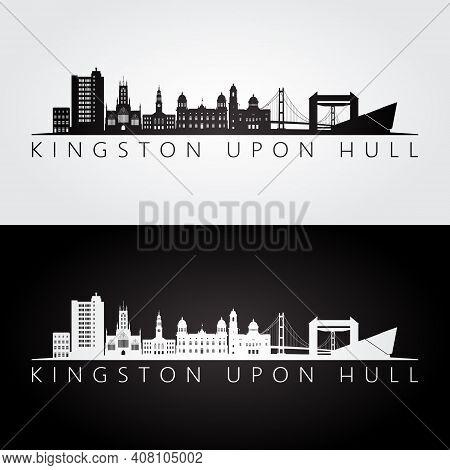 Kingston Upon Hull Skyline And Landmarks Silhouette, Black And White Design, Vector Illustration.