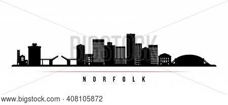 Norfolk Skyline Horizontal Banner. Black And White Silhouette Of Norfolk, Virginia. Vector Template