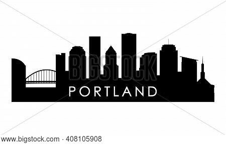 Portland Skyline Silhouette. Black Portland City Design Isolated On White Background.